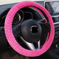 2016 new arrivals rosa preto de pelúcia volante de carro cobre inverno quente interior do carro universal 38 cm mulheres homens menina acessórios