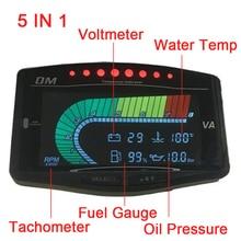 5 Function 12v/24v Truck Car Sensor Oil Pressure Gauge + Volt Voltmeter + Water Temperature Gauge +Fuel Gauge + Tachometer