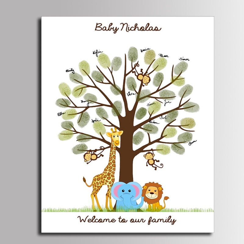 Diy Fingerprint Tree Signature Canvas Painting Animal Family For Baby Shower Decoration Gift Guest Book Buy At The Price Of 9 27 In Aliexpress Com Imall Com
