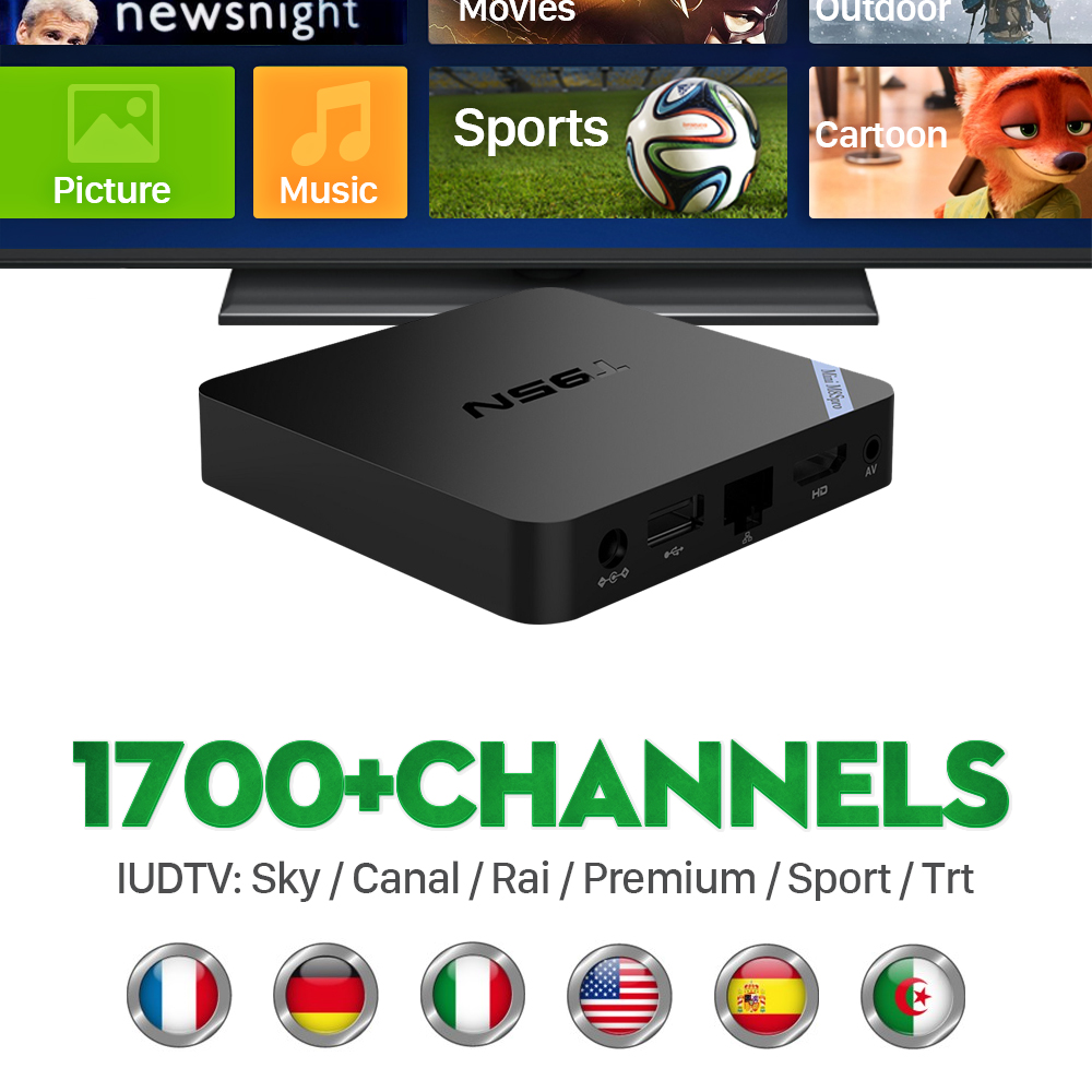 ФОТО French Italy UK DE European IPTV Abonnement Free With S905X Android 6.0 1 Smart TV 2G/8G Kodi Miracast Sports IPTV Box