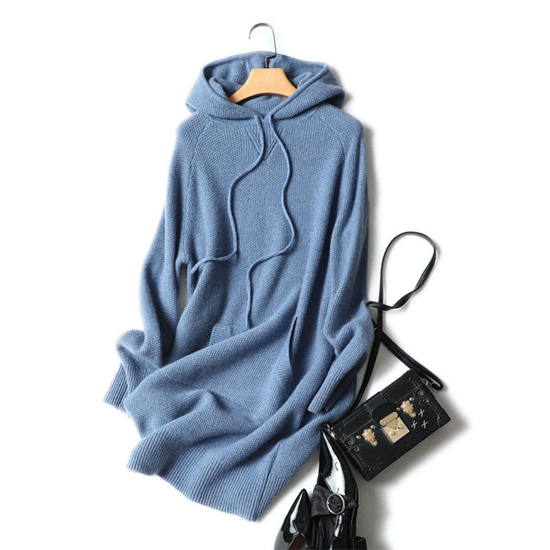 Super Good Quality 100% Cashmere Warm Turtleneck Hooded Dress 2019 Autumn Winter Long Knitted Long Sleeve Sweater Pullover-in Dresses from Women's Clothing    1