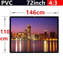 whole sale 72 Inch 4:3 PVC Fabric Matte With 1.1 Gain projection screen Wall Mounted  for all 3d led dlp hd mini home projectors