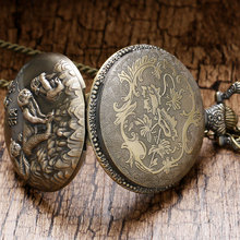 2017 Xmas Gift The Chinese Zodiac Style Monkey Vintage Bronze Copper Steampunk Quartz Pocket Watch Clock Dropshipping