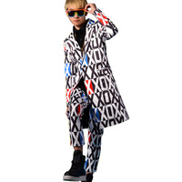 Fashion Male Long Suit Coat Nightclub Stage Show Singer Dancer Performing Costumes Men Casual Blazers Jacket