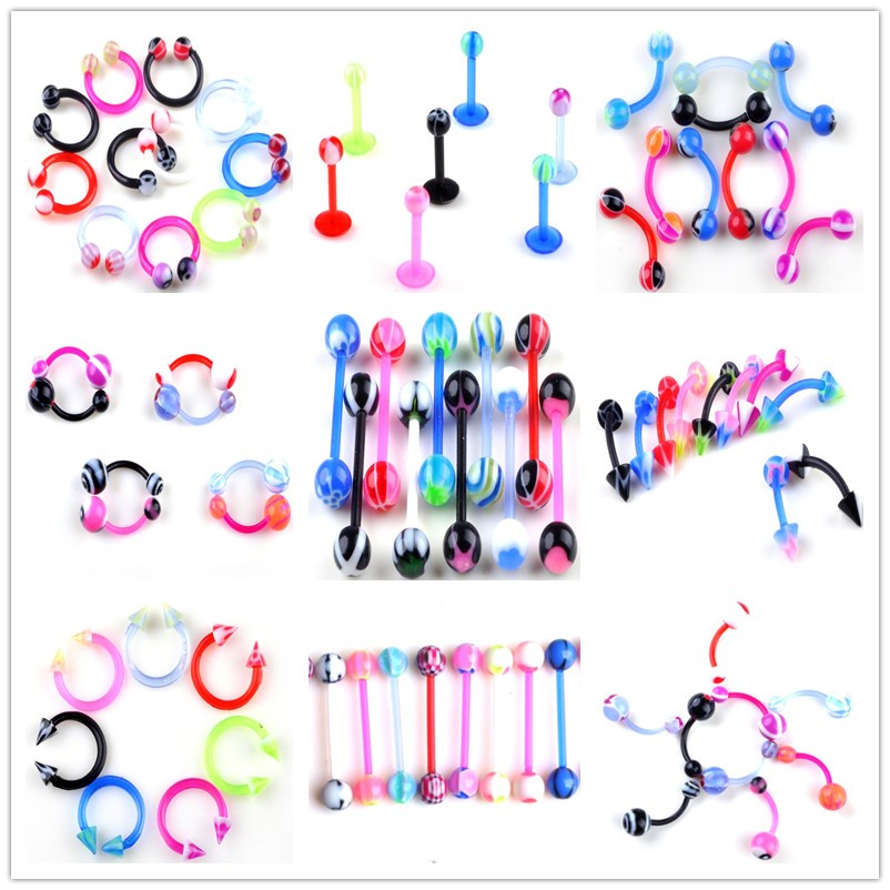 Nose Studs Navel Piercing-Bar Ring-Body-Accessories Tongue Belly Acrylic 5pcs for Men