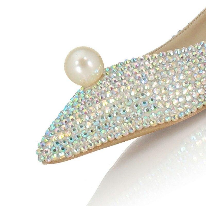 Mode Vrouwen Ondiepe Slip Op Loafers Bruid Glitter Pailletten Parel Wees Teen Trouwjurk Schoenen Bruidsmeisje Dames Flats Schoenen - 6