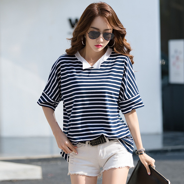 24c7d1dde Short Sleeve Female T-shirt Striped Plus Size M-4XL Cotton Summer Tops New  2019 T Shirt Women Casual Peter Pan Collar T-Shirts
