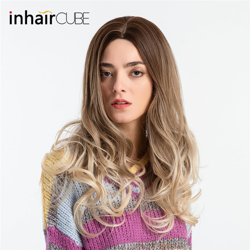 Inhair Cube Middle Part 26 Inches Long Wavy Synthetic Wigs Simulation Scalp For Black/White Women Trendy Female Wigs