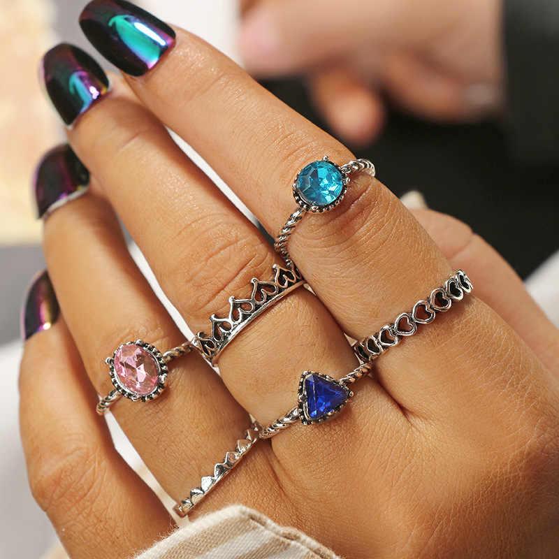6 шт./компл. розовый зеленый синий Циркон инкрустация красивый полый сердце кольцо на палец с короной Богемия Стиль Серебряный металлический шарнир кольцо ювелирные изделия