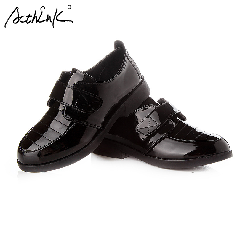 ActhInK New Boys Patent Leather Shoes School Children Uniform Shoes Teen Boys Formal Brogues Shoes England Leather Wedding Shoes