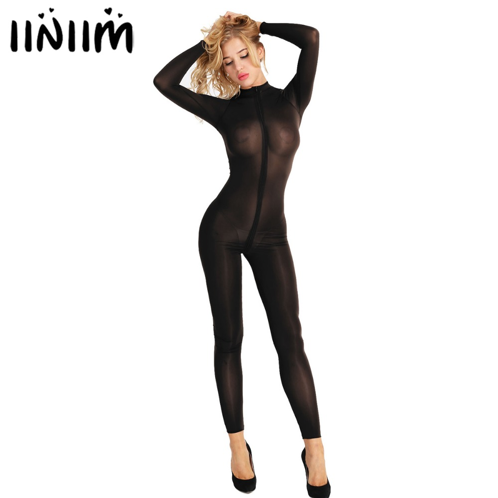 Womens Sexy Lingerie Bodystocking Long Sleeves Smooth Fiber Double Zipper Sheer Smooth See Through Open Crotch Bodysuit Jumpsuit