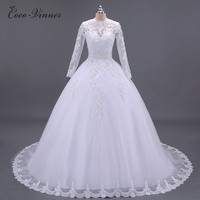 C V Boat Neck Long Sleeves Pearls Beading Appliques Lace Wedding Dress 2017 New Custom Made