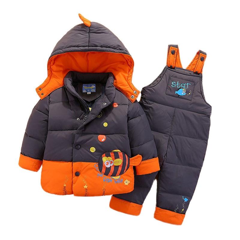 80-110cm Down Jacket For Girl Boy Kids Snowsuit Children Winter Jackets Overalls Outerwear Baby Park Jumpsuits Coat Pant Set цена 2017
