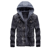 Denim Jacket Men Winter Jean Coat Wool Liner Detachable Hood Male Motorcycle Jackets Windproof Outerwear Casual
