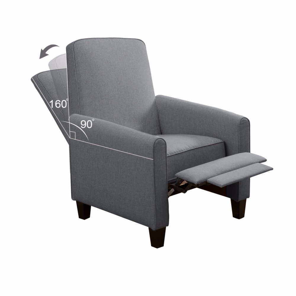 Langria Push Back Recliner Sofa Chair Lounger With Fabric Upholstery Elevating Footrest Padded Seat Pillow Top Backrest For Home In Living Room Sofas From