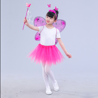 Girls butterfly wings costumes children fairy wing princess gauze Dance Skirts purple blue yellow red hot pink