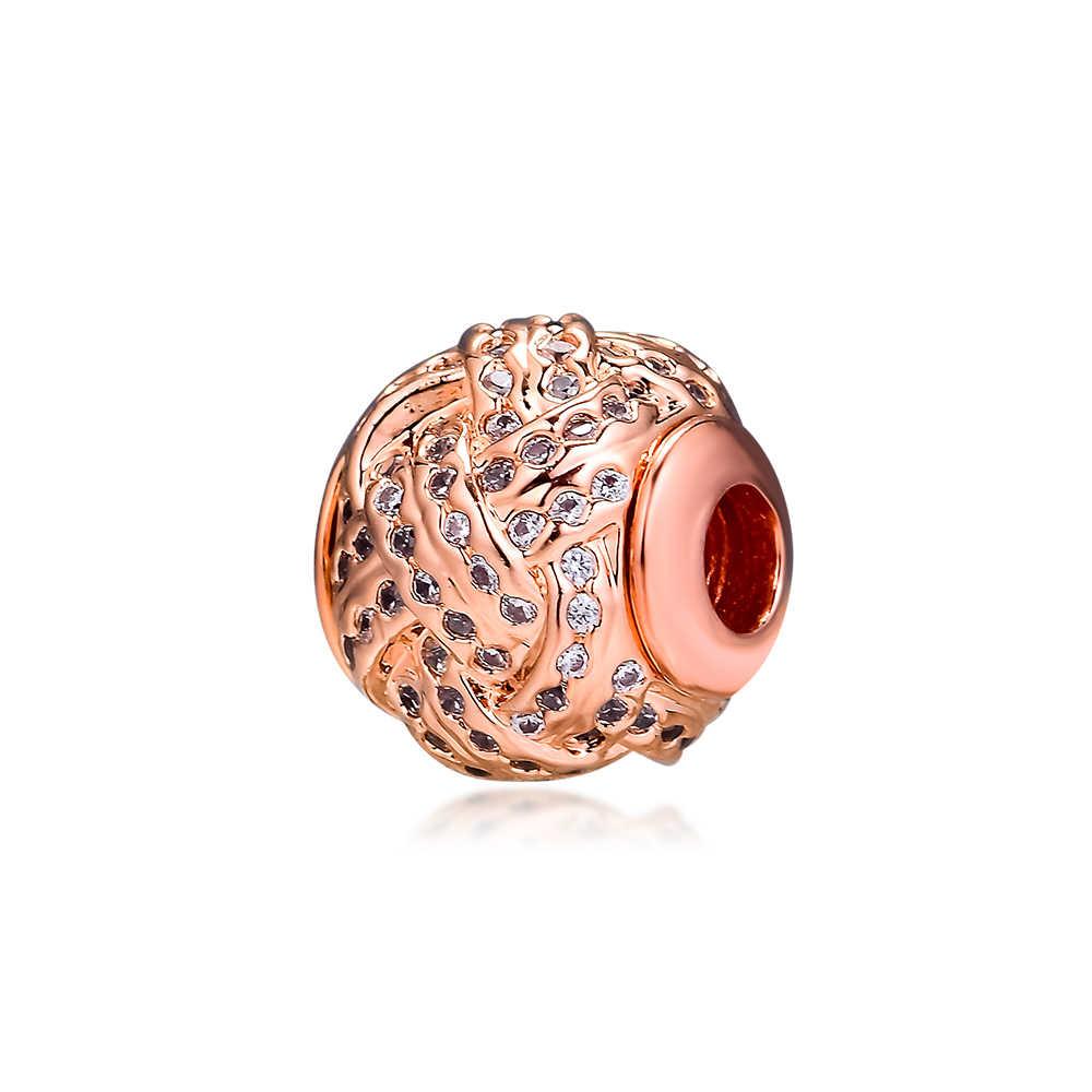 Serve para Charms Pandora Pulseiras de Essência Carinho Rosa Contas de Ouro com Clear CZ 100% Jóias de Prata Esterlina 925 Frete Grátis