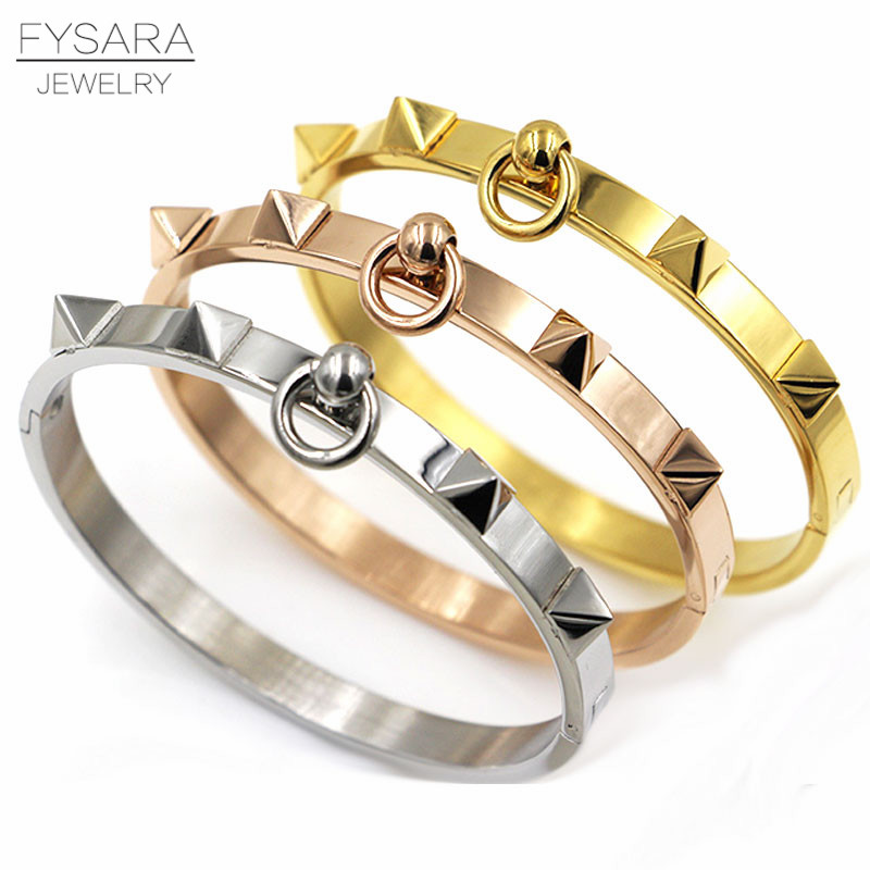 FYSARA Fashion Jewelry Punk 361L Stainless Steel Rivet Bangle Pyramid Rose Gold Bracelets & Bangles Nail Love Bracelet for Women