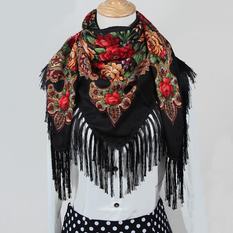 Sıcak satış yeni moda kadın Eşarp kare atkılar uzun püskül - Elbise aksesuarları - Fotoğraf 2