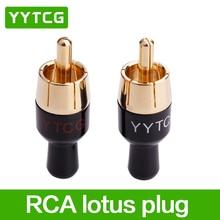 4 шт. медь RCA штекер аудио кабель Мужской разъем адаптера разъем пайки штекер Phono для кабеля 4 мм