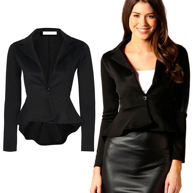 Women blazers and Jackets 2016 Spring Autumn long-sleeve Slim Fit Work Wear Blazer Ladies Candy Color Office Suit Coat