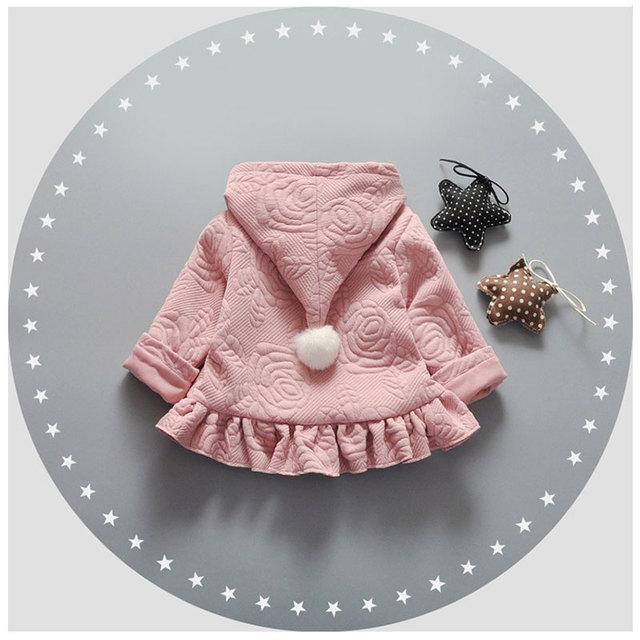 2017 Primavera baby girl impressão bonito hem coats jacket para meninas do bebê roupas de marca de algodão com capuz jaqueta de roupa outerwear esportes casaco