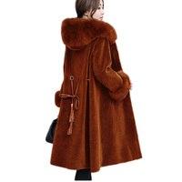 Высококачественный, из овчины сдвига пух зимние Для женщин пальто с мехом теплая куртка с капюшоном пальто с мехом средней длины качественн