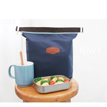 Casual Oxford Cloth Bento Lunch Pouch Bag Thermal Insulated Cooler Dining Travel Tote Picnic Bag Navy Blue цена