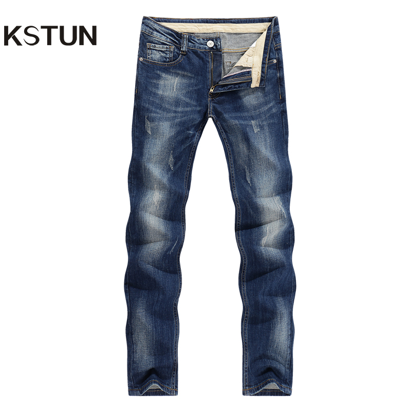 KSTUN Jeans Men Business Casual Jeans Denim Pants Slim Straight Classic Direct Blue Thick Autumn and Winter Male Hombre Pantalon new fashion style hot sale autumn winter thick male jeans straight slim looking men full length pants heavyweight solid cozy