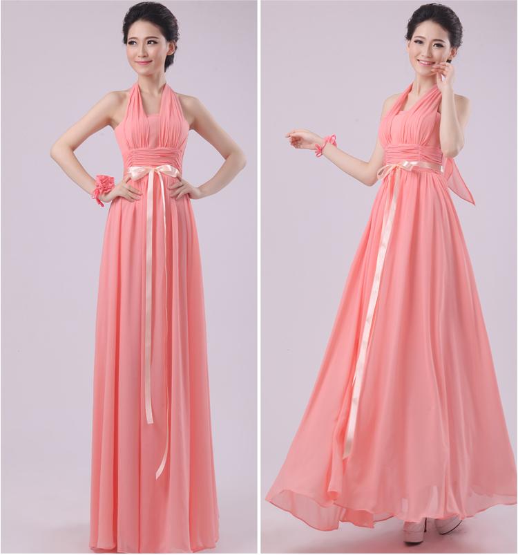 Envío gratis largo Coral colores dama de honor vestidos 2015 mujeres ...