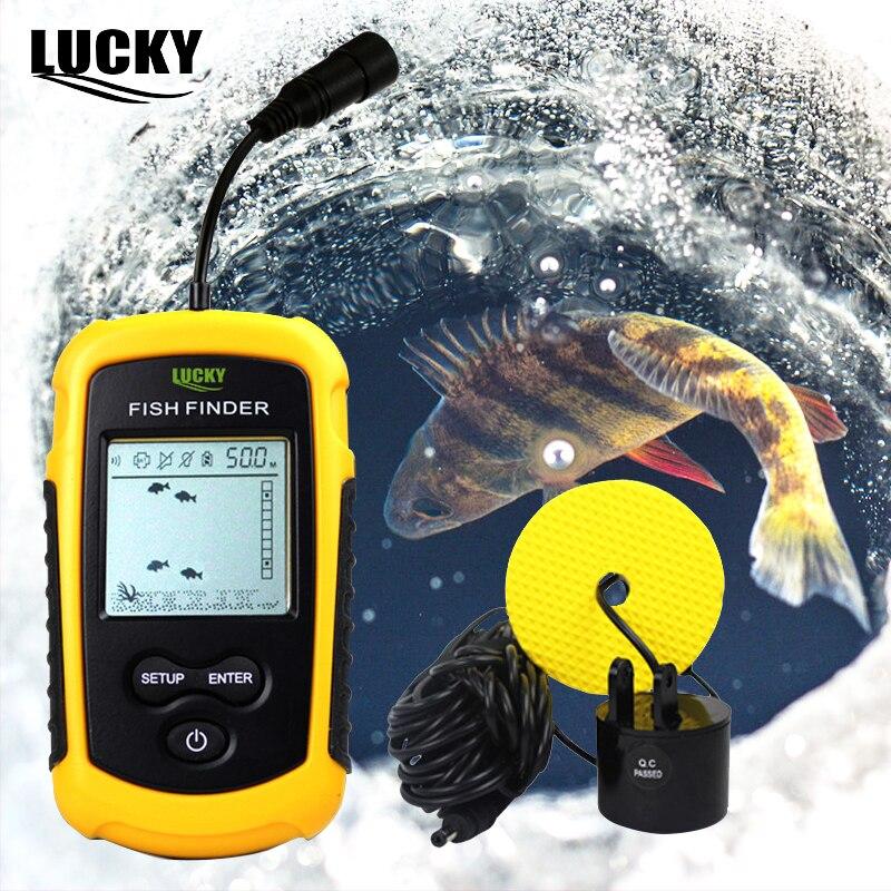 FF1108-1 chanceux Portable détecteur de poisson russe manuel Sonar sondeur alarme 0.7-100 M transducteur pour hiver glace nautisme pêche CarpC3