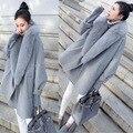 2017 Корейской Версии Осень и Зима Новый Шерстяной Жакет Моды Большой Кокон Типа Мыс Серая Шуба Зимы Женщин пальто