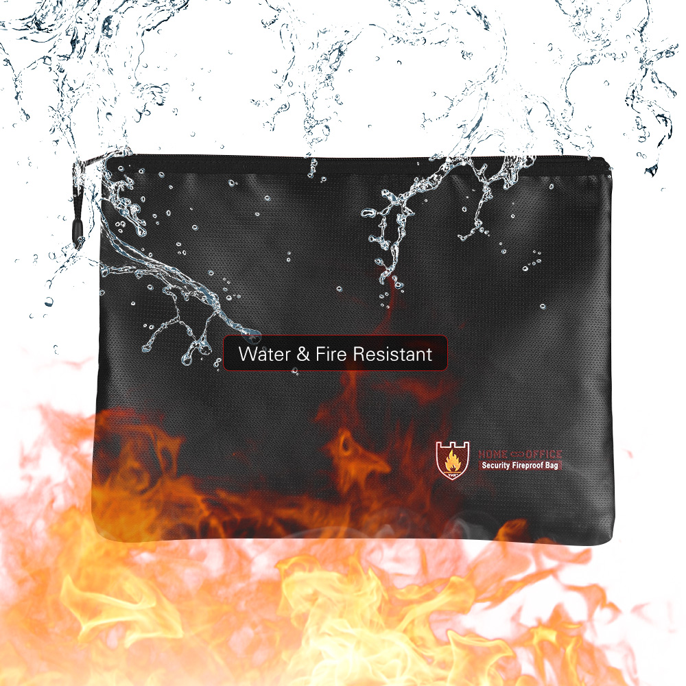 3Size  Document Bag Fireproof Silicone Fiberglass Waterproof With Zipper Closure Storage For File Jewelry Valuables