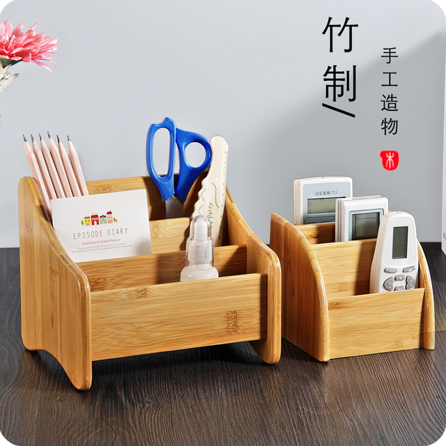 Bamboo Living Room Remote Control Organizer Desktop Sundries Storage Box  Mobile Phone Storage Rack Part 66