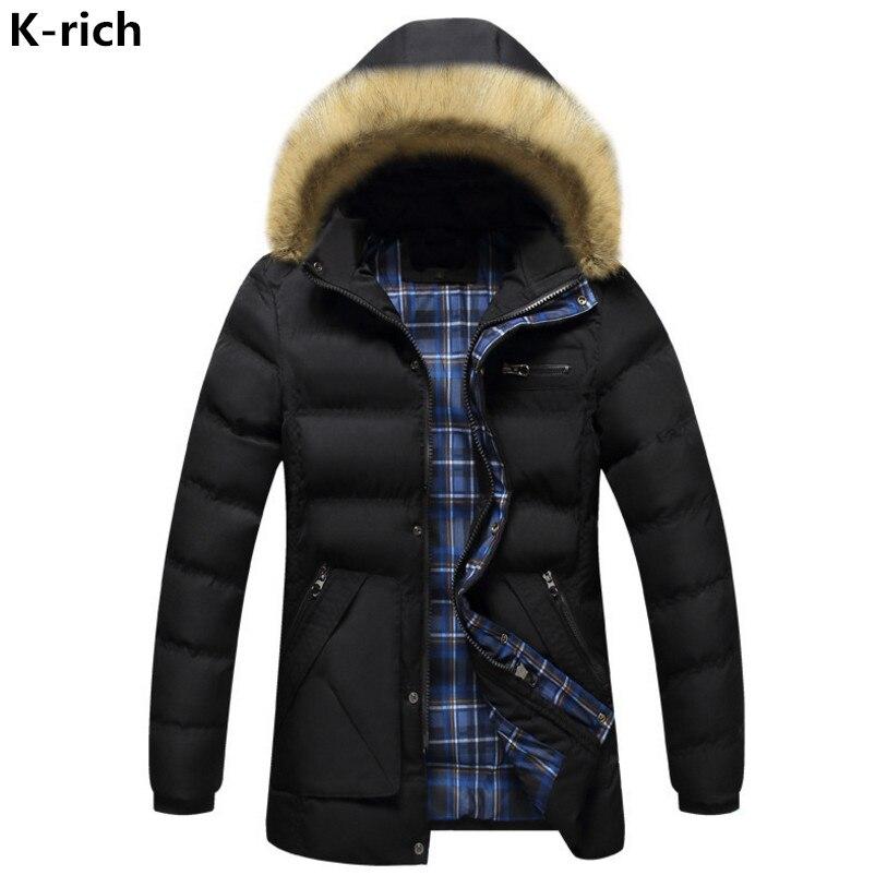 K-rich Winter Jacket Men Hooded Solid Thick Warm Park Man Jacket Coat Big Fur Collar Zipper Pocket Parka Men's Coat L-3XL boglioli k jacket пиджак