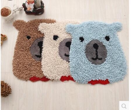 Blauwe Vloerbedekking Slaapkamer : Creatieve grijs beige blauwe beer chenille mat deurmat katoen