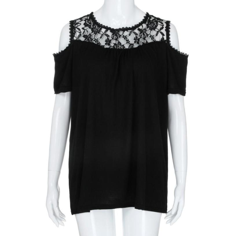 Summer Top Plus Size XL- 5XL Cold Shoulder Strapless Lace Short Sleeve Shirt Tops O Neck Lace Patchwork Solid Shirt Roupa#RB  4