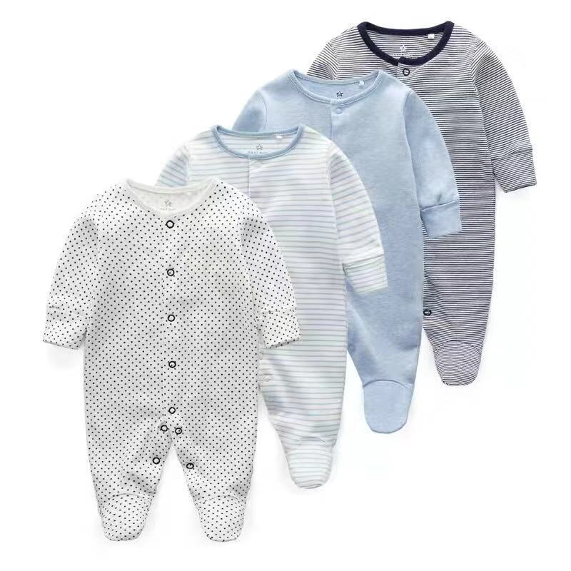 Newborn Baby Clothes Babies Girl Footed Pajamas Roupa Bebe 2 Pack Long Sleeve 3 6 9 12 Months Infant Boy Jumpsuits