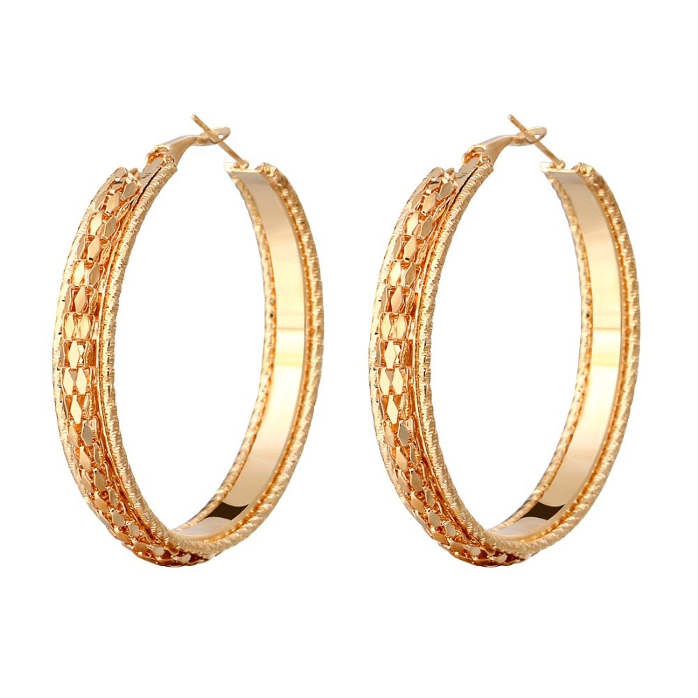 d0494959d Hesiod Brincos Exaggerated Big Circle Hoop Earrings Mesh Carved Sexy  Earrings for Women Best Birthday Gifts