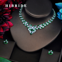 HIBRIDE Hot Elegent Parure Bijoux Femme Shiny Green Cubic Jewellery Sets Necklace& Earrings Set Stage Party Pagement Gifts N 477