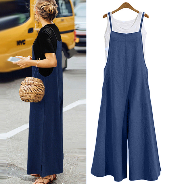 XXXL Plus Size Tracksuit for Women Jumpsuit Cotton Wide Leg Pantsuit Spaghetti  Strap Sleeveless Strappy Rompers 07877f191f00