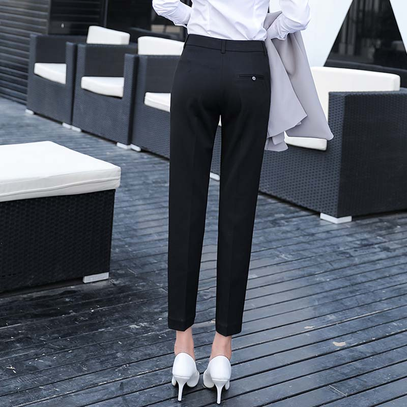 Image 5 - Women Slim Straight Suit Pants Female Summer Korean High Waist Pockets Trousers Women Causul Solid Loose AnkleLength Cargo Pants-in Pants & Capris from Women's Clothing