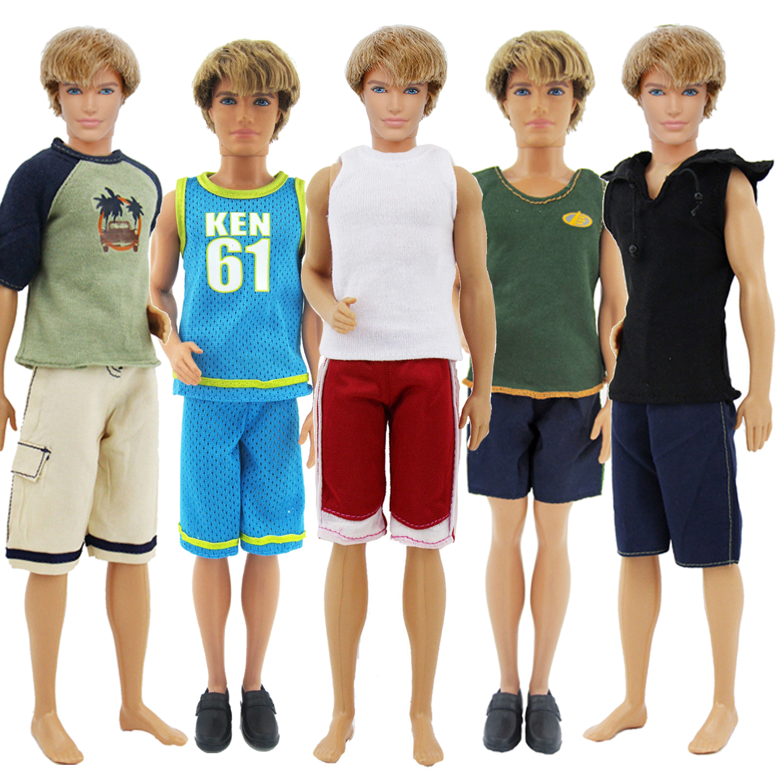 1 Set Random Outfit Daily Casual Sports Wear Short Sleeves Shirt + Shorts Summer Cool Clothes For Barbie Doll Ken Accessories
