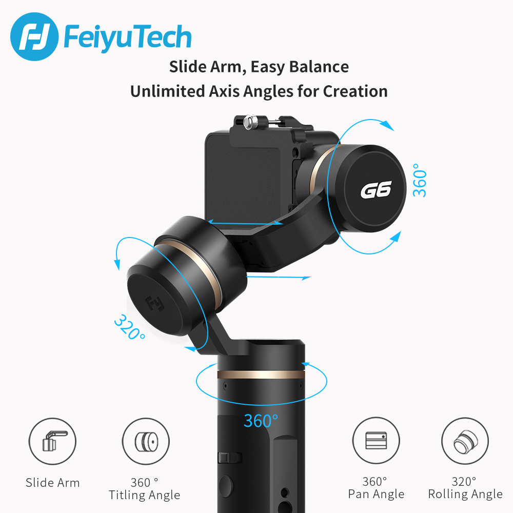 FeiyuTech G6 Handheld Gimbal Stabilizer Splashproof Wifi Bluetooth OLED Screen for Gopro Hero 7 6 5 Sony RX0 Yi in Handheld Gimbals from Consumer Electronics