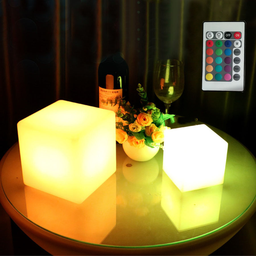 Thrisdar Dimmable 16 Color <font><b>LED</b></font> <font><b>Cube</b></font> Bedside Night Light Battery Powered Ambiance <font><b>Cube</b></font> Night light Kids Bedrooms Mood Table Lamps image