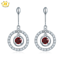 Hutang Natural Red Garnet Dangle Drop Earrings Solid 925 Sterling Silver Round Gemstone Fine Jewelry Trendy Style 2017 New