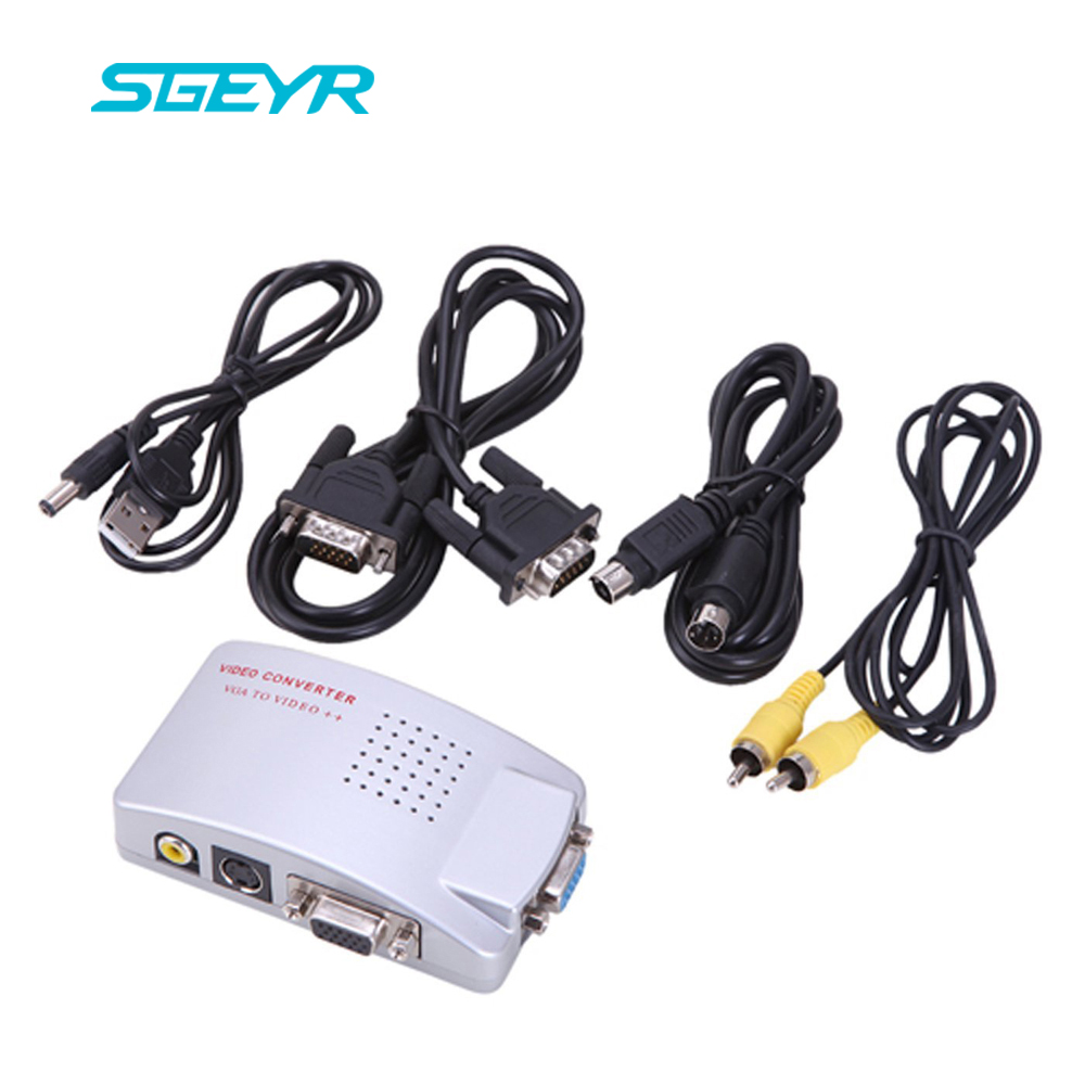 SGEYR VGA to AV TV RCA Composite Converter Adapter S-video Box for PC Laptop Windows Mac ...