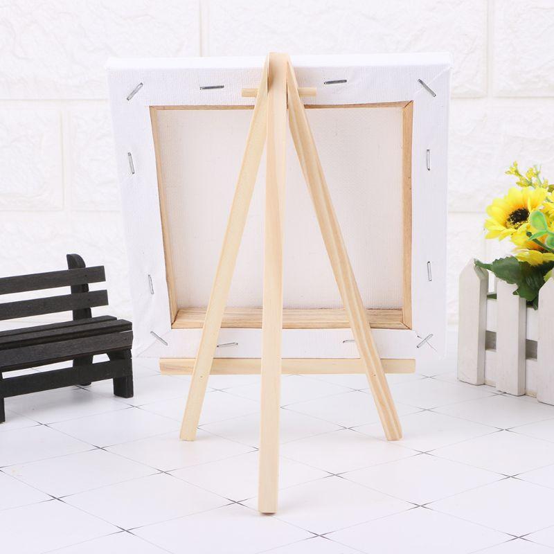 7X12 Cm Mini Canvas En Natuurlijke Houten Schildersezel Set Voor Art Schilderij Tekening Craft Wedding Supply