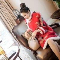 2017 Winter Lake Blue Chinese Traditional Dress Women Satin Qipao Dragon Phenix Long Cheongsam Plus