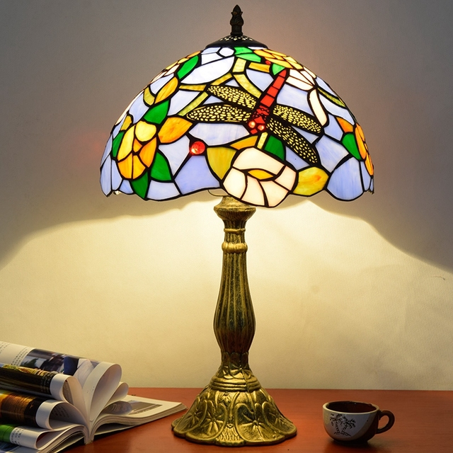 Eusolis 12 Inch Table Lamp Stained Glass Mosaic Crysta Abajour Home